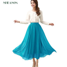 8color!2015 New Fashion Women Skirts Candy color chiffon pleated long skirts  Elastic Waist Maxi Skirt for lady  plus size TB319