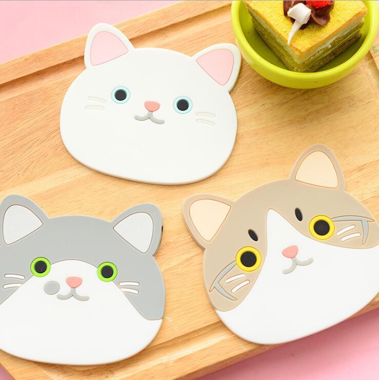 de silicona lindo gato taza de caf bar taza de aislamiento mat pad mesa de comedor mantel manteles coaster coasters estera