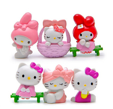 6pcs/set Anime Cartoon Hello Kitty Figures Toy Hello Kitty PVC Action Figures Toys Doll KT Kitty Cat Collectible Model Toy Gifts