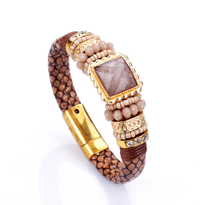 MENG Bohemia Vintage Style Unisex Charm Bracelets Femme Leather Jewelry Crystal Bracelet Natural Stone for Lovers B08071(China (Mainland))
