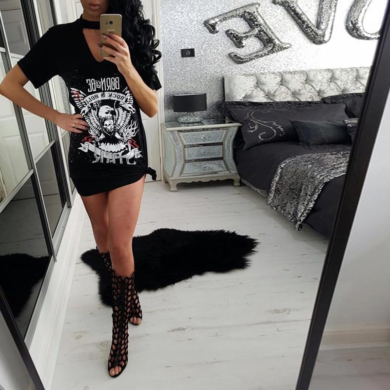 225aadb2da44 2019 Wholesale Print Punk Rock N Roll Eagle Halter T Shirt Dress ...