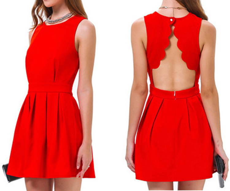 2015 Summer Style 2015 Fashion Women Sexy Open Back Dresses Short Solid Ladies Summer Party