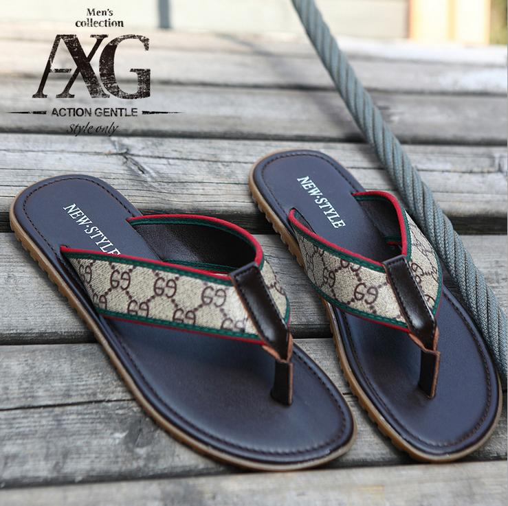 Mens Sandals Slipper genuine leather shoes men's beach brand men fashion slippers rubber sole casual flip flops - Kingdom Services store