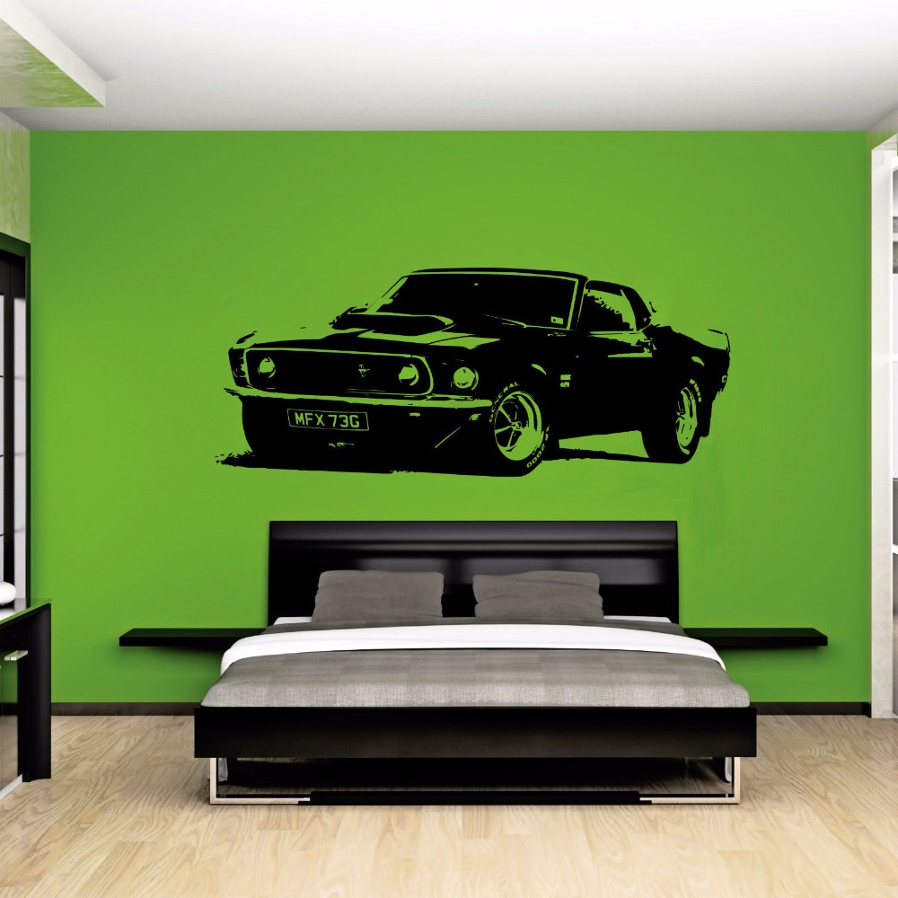Large Car Sticker for Ford Mustang 1969 Muscle Classic Wall Art Decal Removable Vinyl Transfer Stencil Mural Home Bedroom Decor(China (Mainland))
