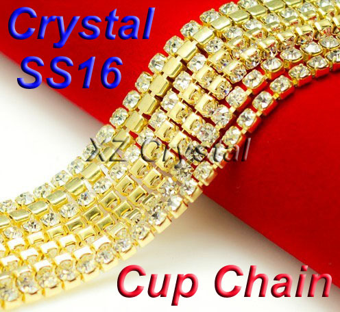 SS16 4mm Crystal Rhinestone Trims Gold Plated Brass 8.8meters/lot Chatons Cup Chain,Strass Chain Triming For Garment Accessories(China (Mainland))