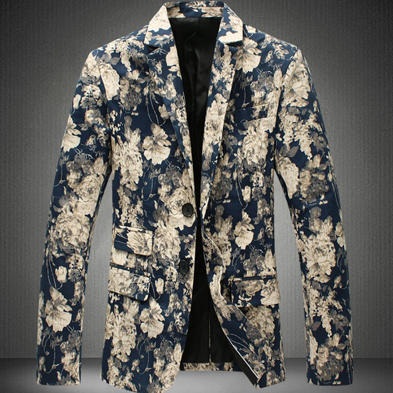 Print Blazer For Men 2015 New Plus Size M-6xL Flower Blazer Men Jacket Outwear Floral Print Blazer Men Casual Suit Jacket(China (Mainland))