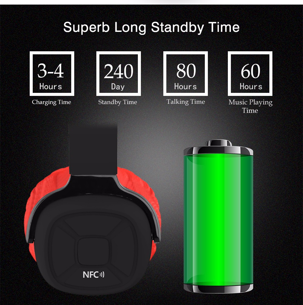 New Bee Upgraded Wireless Bluetooth Headphone Hifi Sport Headset with Case Pedometer App Mic NFC Earphone Stand for Phone PC