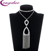 2016 Fashion 8 Letter Tassel Necklace Long Necklace Women Chain Rock Steampunk Pendant&Necklaces Nickel Free Jewelry (China (Mainland))