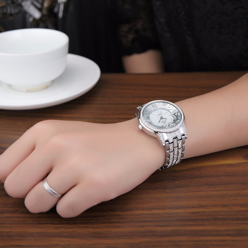 BELBI Часы Люксовый Бренд Серебряный Женщины Кварцевые Часы Мода Золото Стали Смотреть Полный Кристалл Платье Наручные Часы Ювелирные Изделия Relojes 2016