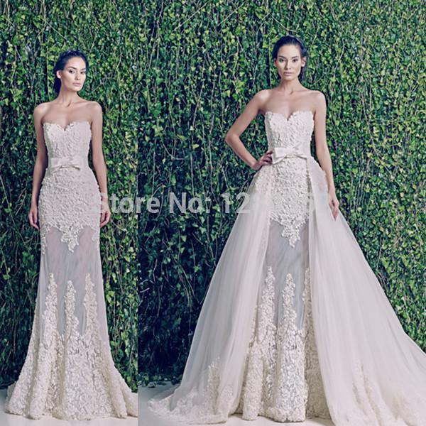 2015 new wedding dresses sweetheart see through detachable for Wedding dress removable skirt