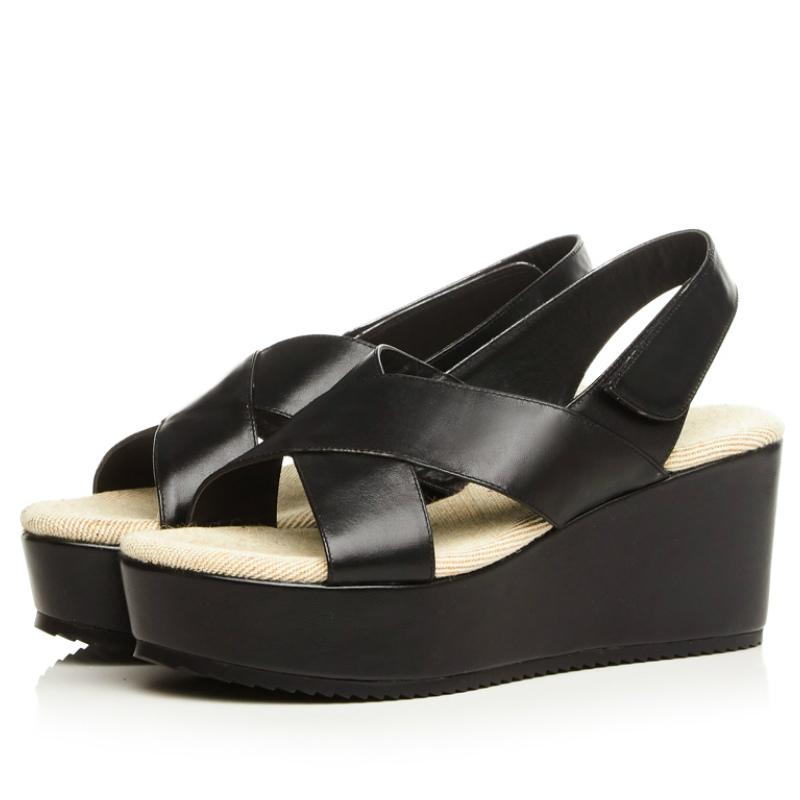 Фотография high quality full grain genuine leather 7.5cm platforms women sandals 2016 black beige white cross fashion summer casual shoes