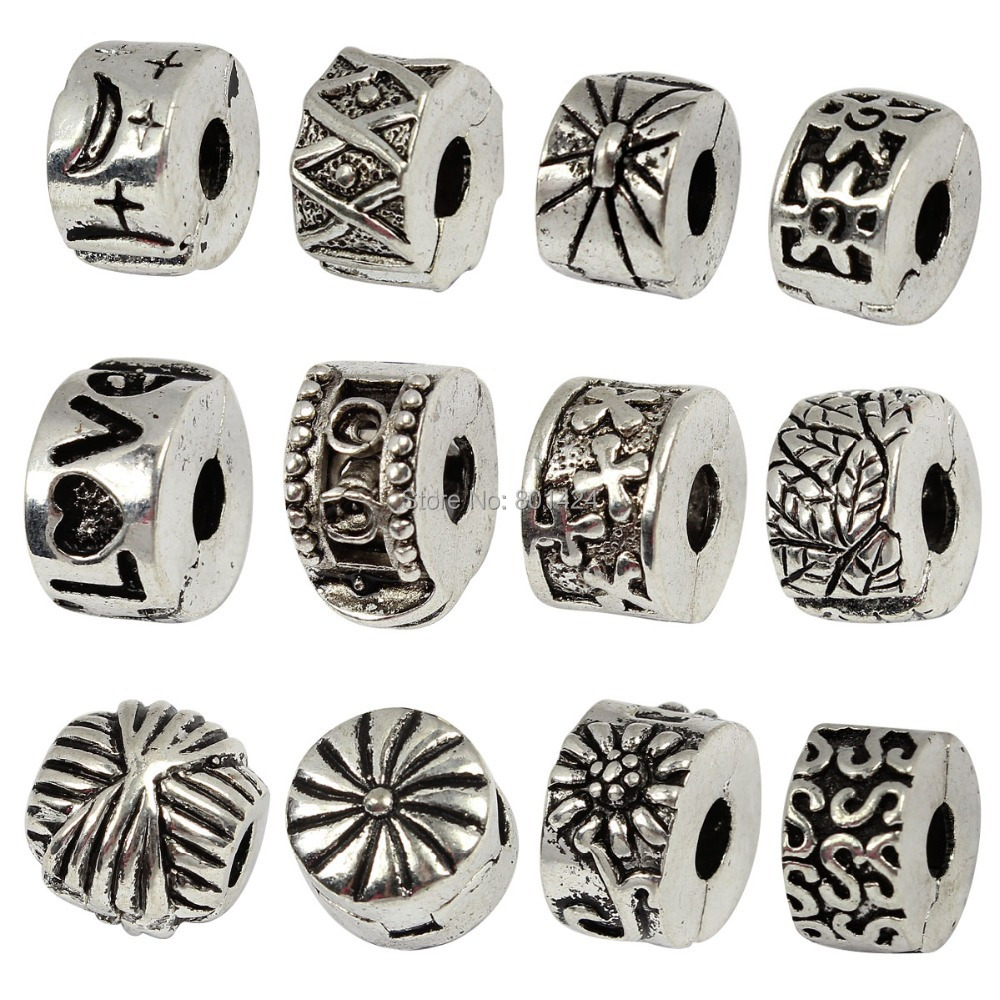 free shipping 50pcs 58-523 Antique Silver Finish European Style Clip Lock Stopper Bead Charms Fit European Bracelet(China (Mainland))