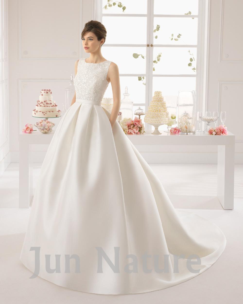 2015 new fashion elegant satin court train ball gown for Elegant satin wedding dresses