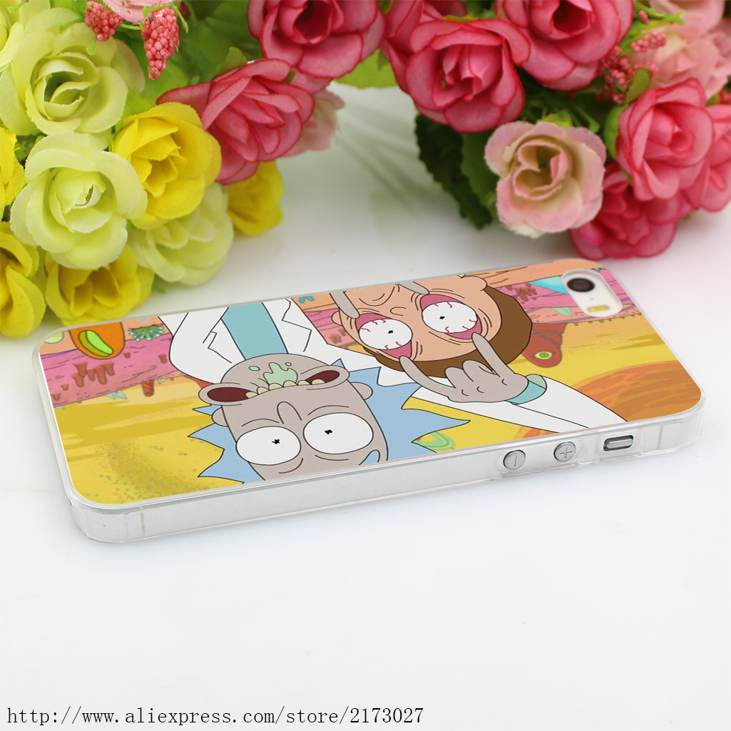 488HK rick and morty Hard Case Transparent Cover for iPhone 4 4s 5 5s 5c SE 6 6s 7 & Plus