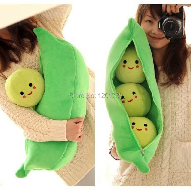 New Arrival 1 pcs 62cm(24.4inch) High Quality Super Cute Little Peas Stuffed Plush Doll 3 Peas in a Pod Pea Toy ,Valentine Gift(China (Mainland))