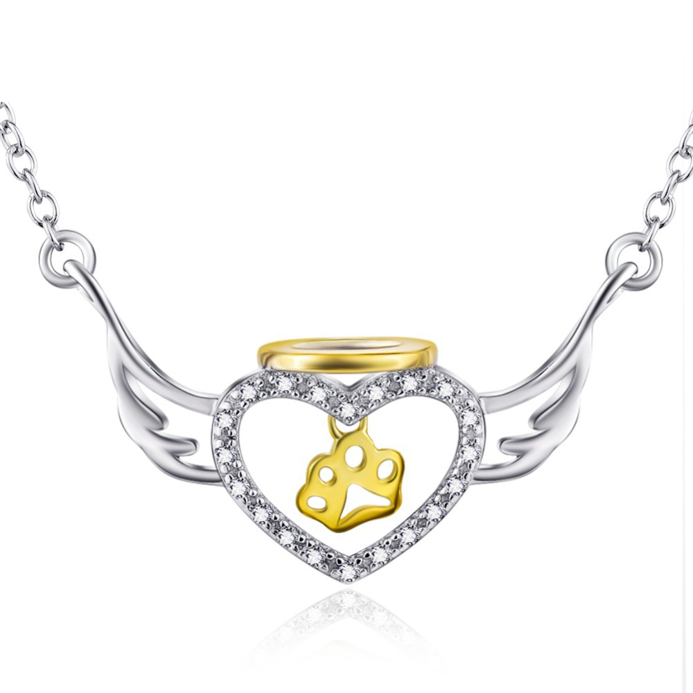 925 Sterling Silver and Yellow Gold Plated Cubic Zirconia Winged Halo Paw Heart Pendant Necklace,18''(China (Mainland))