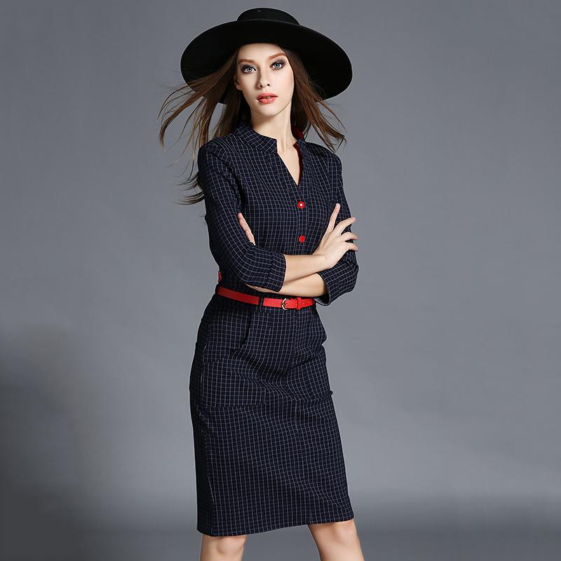 new designer plaid bodycon dresses 2015 high quality burderry women Knee-Length fall fashion shirt dress business clothing OM780(China (Mainland))