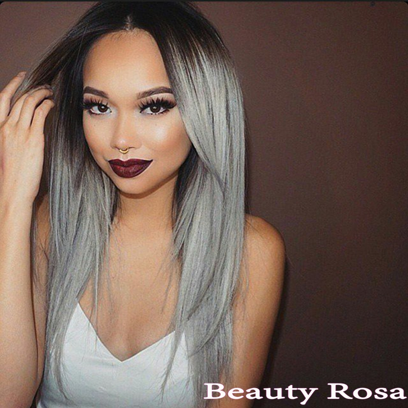 Synthetic Lace Front Grey Wig Glueless Ombre Black to Grey African American Wigs Heat Resistant Hair Wigs Silky Straight instock<br><br>Aliexpress