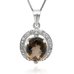 Elegant natural smoky quartz 925 pure silver pendants necklace jewelry lovers gift girlfriend gifts - Soldi Fashion Jewelry store