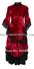 New Wine Red Ladies Dresses and Suits Vintage Bustle Dress