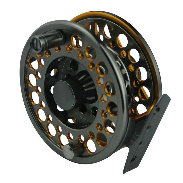 Double-colored SLA5/6 Aluminum Alloy Machine Cut Fly Fishing Reels Large Arbor Spool Width 85mm - Sameday919-2 store