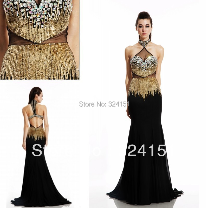 First Class Long Gold Mermaid Floor Length High Collar Black Open Back 2014 New Style Evening Gown Prom Party Dresses - kamaliya-love store
