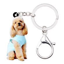 Bonsny Acrílico Doce Sentado Cão Poodle Chaveiros Chaveiros Anéis Jóias Para As Mulheres Meninas Senhoras Bolsa Encantos Acessórios Do Carro(China)