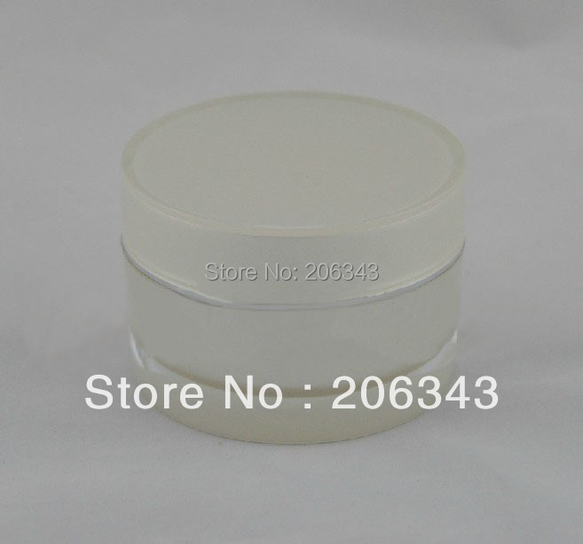 50G pearl white acrylic cylinder-shape cream bottle,cosmetic container,,cream jar,Cosmetic Jar,Cosmetic Packaging(China (Mainland))