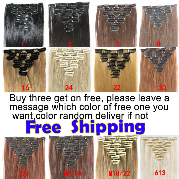"7pcs/set 22"" 55cm 130g Clip in Hair Extensions Synthetic Clip In Hair Extension Straight Hair Extension Free Shipping(China (Mainland))"