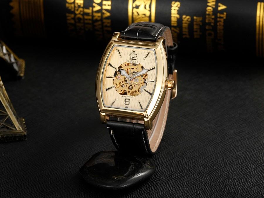 ГРУ марка кожа техника мужские Автоматические Часы Площадь Световой мода Скелет цифровой мужчины Наручные часы