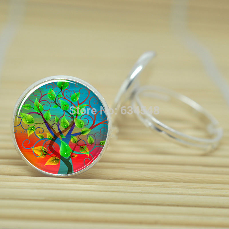 10pcs Tree of life rings nature Woodland Jewelry glass Cabochon Adjustable Rings D04879(China (Mainland))