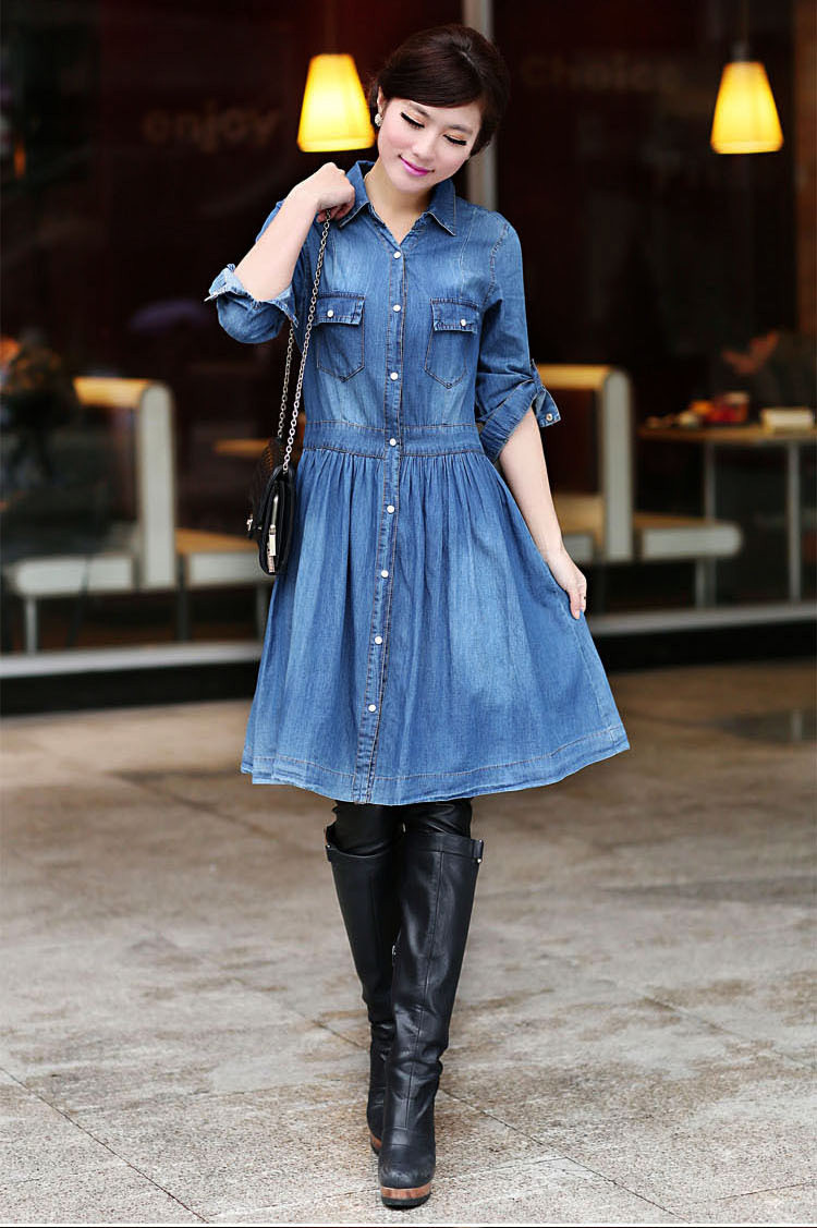 Denim Dress Outfit Winter