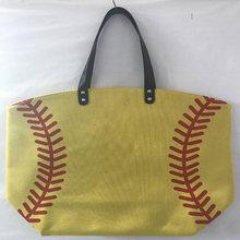 100 Pcs Softball Bisbol Kanvas Katun Perempuan Tote Tas Pesta Aksesori Kotak Hadiah Kuning Putih Tas Jinjing(China)