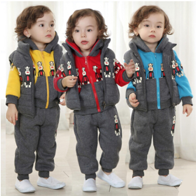 2015 children's winter clothing sets cotton baby boys stylish clothes Set hoody+vest+pants 3 pcs designer kids clothing for boy(China (Mainland))