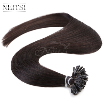 "Neitsi 1B# 16"" 20"" 24"" 50g 100g 1g/s Nail Tip Brazilian Keratin U Nail Hair Extensions Pre Bonded Remy Hair Straight Pieces"