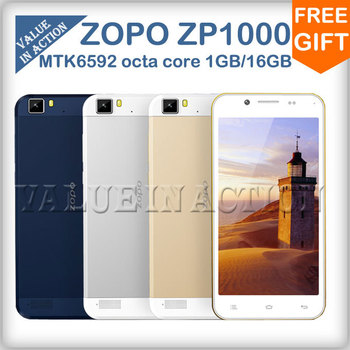 Original ZOPO ZP1000 MTK6592 Octa Core Mobile Phone Android 4.2 OS 5.0inch IPS Screen 1G RAM 16G ROM 5MP 14MP Camera 3G/GPS/OTG