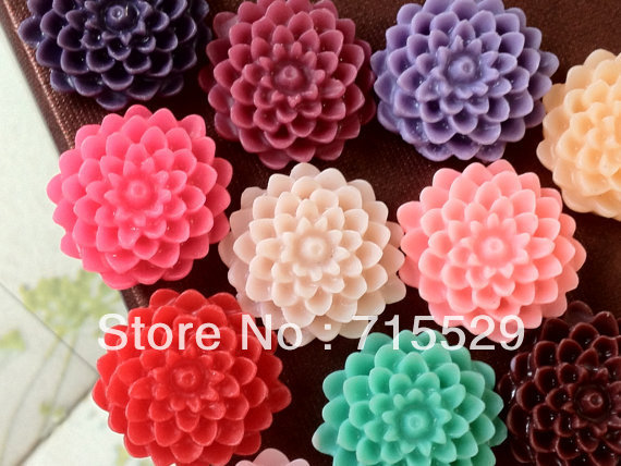 Free shipping 14mm 14 Colors Resin Cabochon Flower for Jewelry/Mobilephone Decoration Wholesale 100pcs/lot