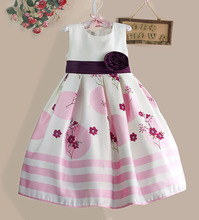 Top quality White Flower Girls Party Dress Pink Striped Big Bow Kids Dresses Princess Girl Clothes Size 3-8Y(China (Mainland))