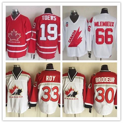 Retro Men's 19 Steve Yzerman 30 Martin BRODEUR 33 Patrick Roy 66 Mario Lemieux Team Canada Jersey OLYMPIC Jerseys(China (Mainland))
