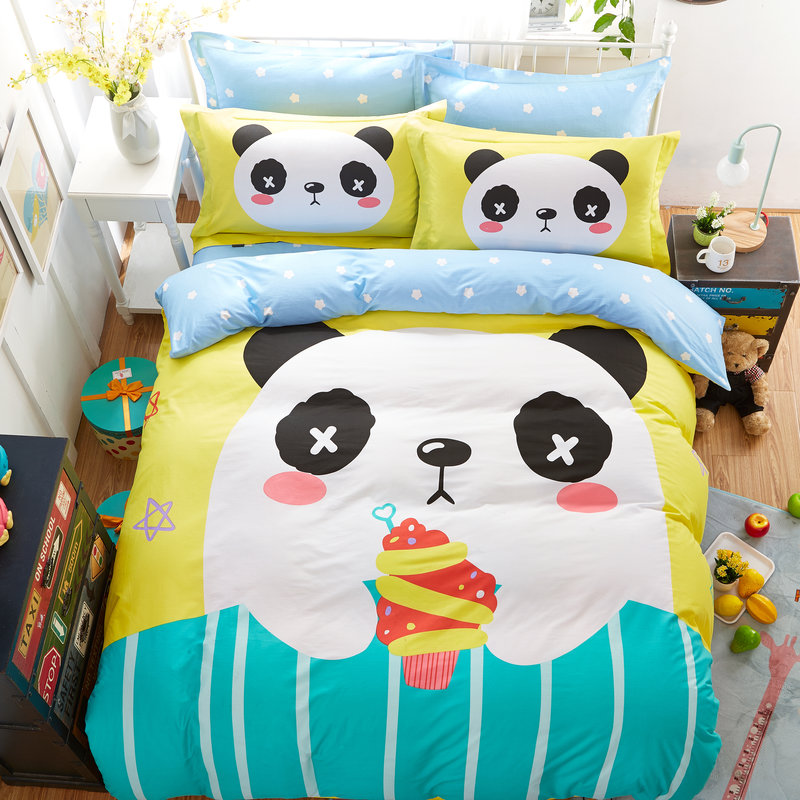 fashion cute panda ice cream print bedding sets 100% cotton linens Twin/Queen Size 3/4pcs duvet cover+bedsheet+pillowcase(China (Mainland))