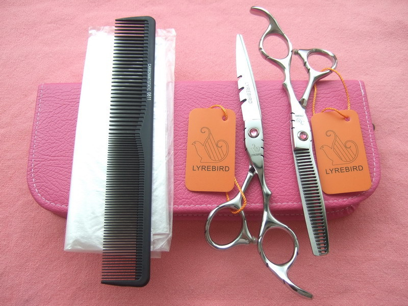 Hair scissors set 5.5 INCH or 6 INCH LYREBIRD Barber scissors Pink stone Pink bag + 1 comb + 5 disposable hair cutting cape NEW(China (Mainland))