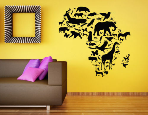 Aiwall African Africa Map Animal Wall Sticker Bedroom Art Decal Wall Stickers Home Decoration
