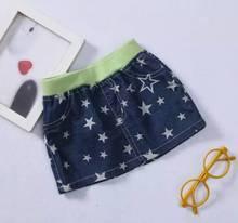 Baby Waist skirt Girls Pineapple printed denim skirt princess stars printed cowboy skirts wholesale(China (Mainland))