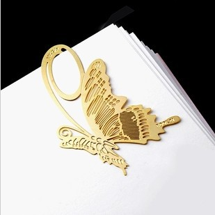 hot selling Korean golden butterfly aestheticism creative customized engraved metal bookmark 1.35*7.5cm 1 piece(China (Mainland))