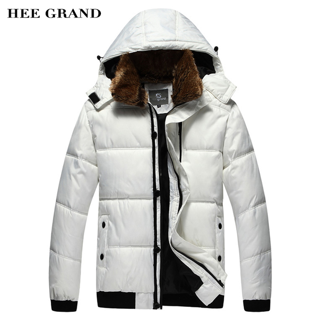 HEE GRAND Men's Parkas Winter Overcoat Solid Color Thick Fur Collar Hooded Outwear Winter Jacket  MWM001