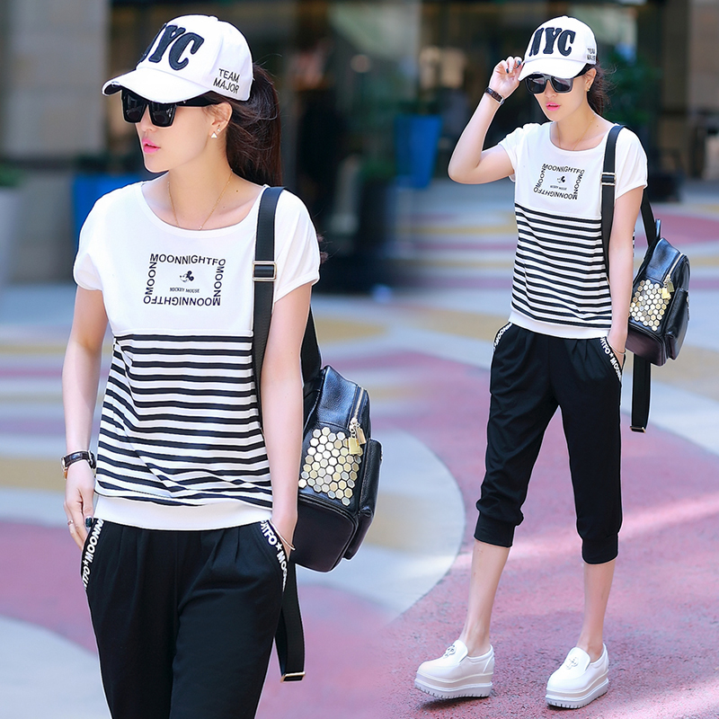 2016 Fashion Two Piece Women Tracksuits Sport Suits Pullovers Casual O-neck Batwing Short Sleeve Leisure Sportswear(China (Mainland))