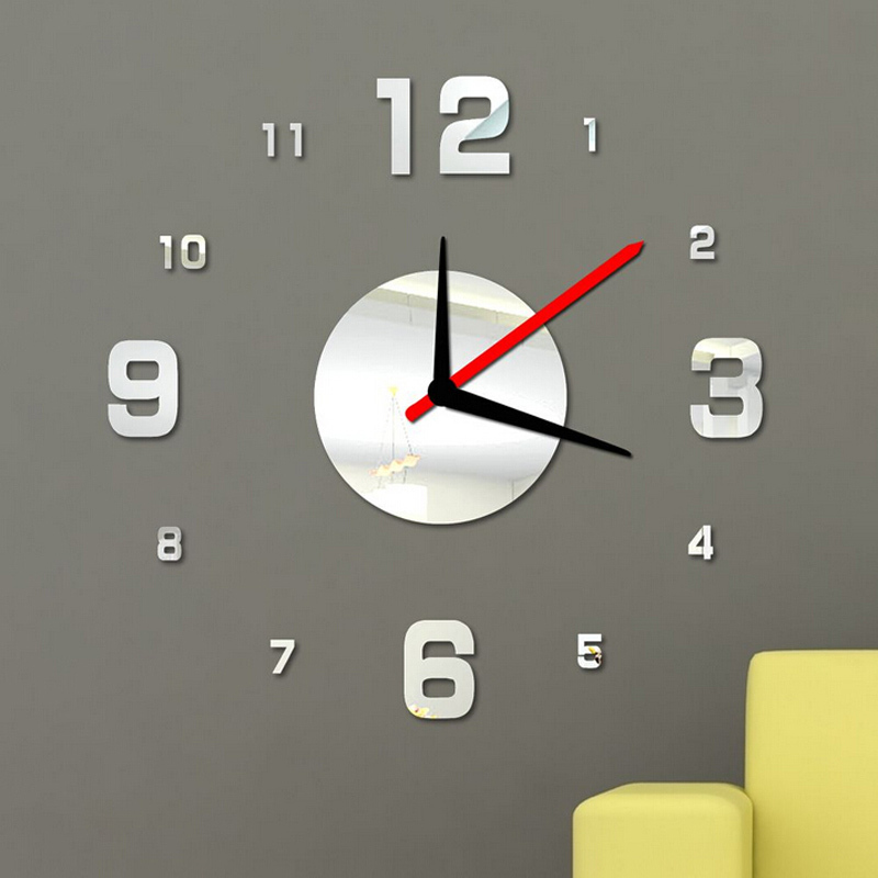2015 new diy wall clock digital clocks watch horloge acrylic 3d mirror stickers morden living room still life quartz needle(China (Mainland))
