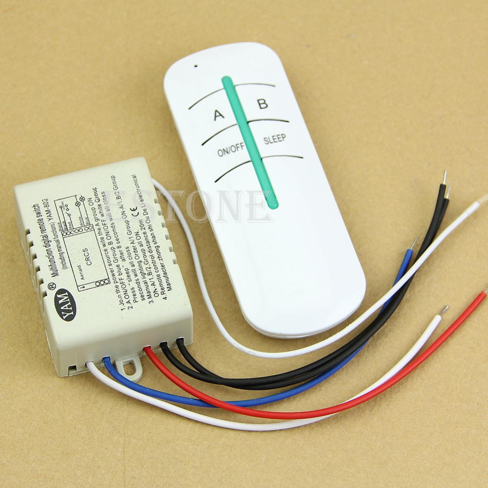 Free Shipping NEW 2 Ways ON/OFF 220V Wireless Lamp Remote Control Switch Receiver Transmitter(China (Mainland))