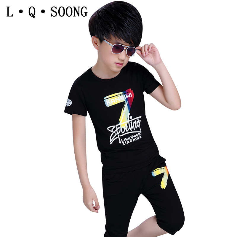 L Q SOONG Brands child clothes sets cotton letter Summer style fashion new sports suits for boys two-piece alphanumeric(China (Mainland))