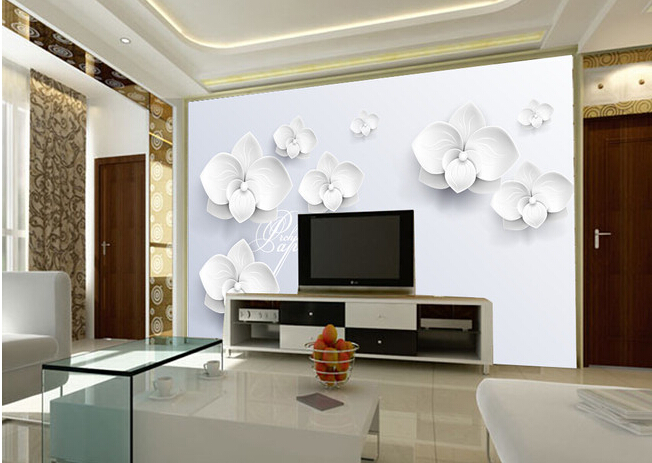 Custom 3d mural 3d three dimensional fashion white flower for 3 dimensions salon